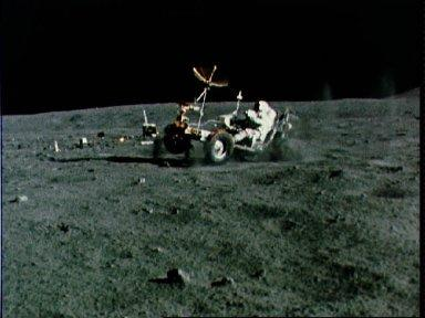 Lunar Roving Vehicle gets speed workout by Astronaut John Young