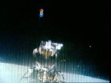 Apollo 16 television transmission of lunar module ascent stage liftoff