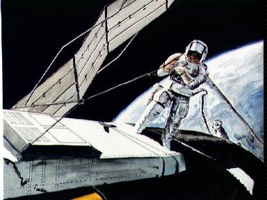 Artist concept of astronaut attempting to free solar array on Skylab