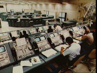 Mission Control during rollout of STS-1 from VAB to launch complex 39