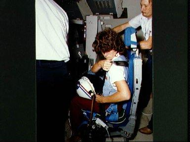 STS-7 crew training in the shuttle mission simulator