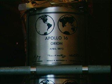 View of replica of the plaque left on Moon by Apollo 16 crew
